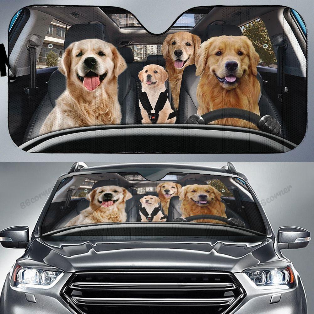 Golden Retriever family car sunshade - Picture 2