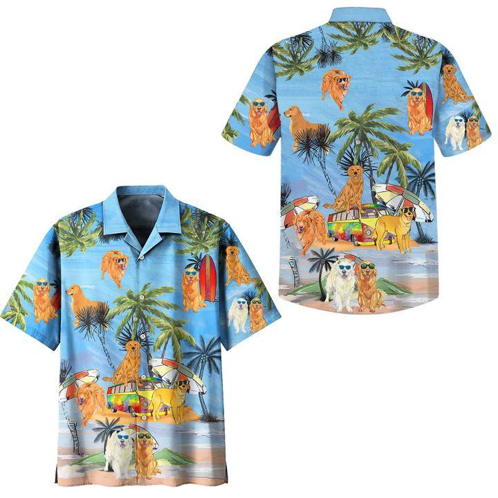 Golden retriever summer vacation hawaiian shirt
