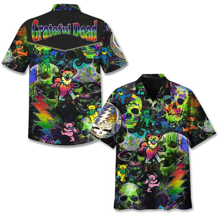 Grateful dead black hawaiian shirt
