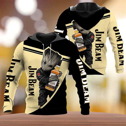 Groot Jim Beam 3d fulll print hoodie