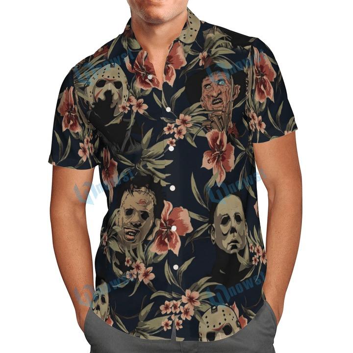 Halloween Horror Characters Hawaiian Shirt And Beach Short 1