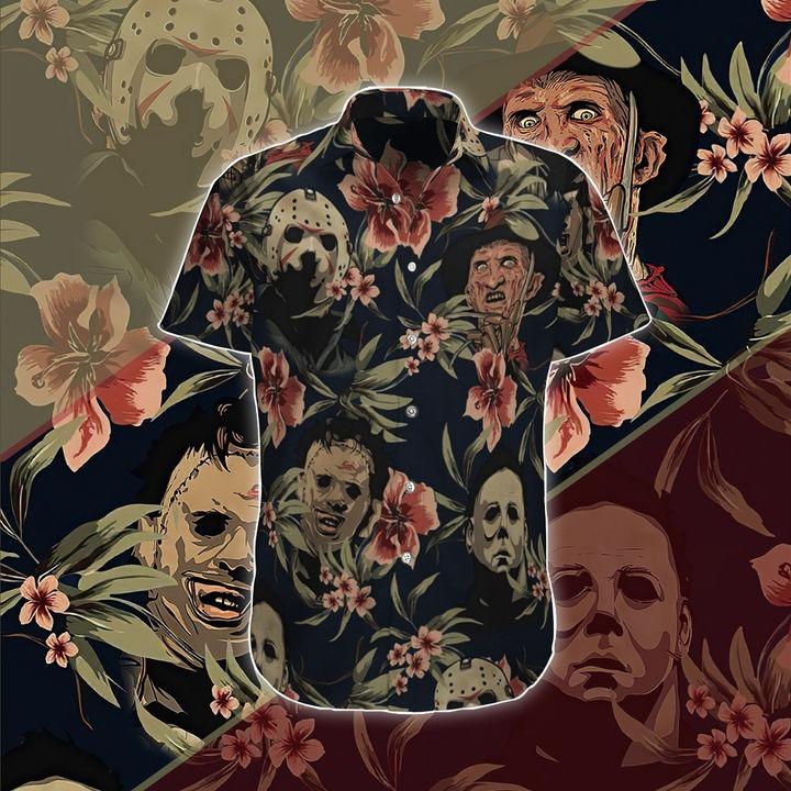 Halloween Horror Characters Hawaiian Shirt And Beach Short