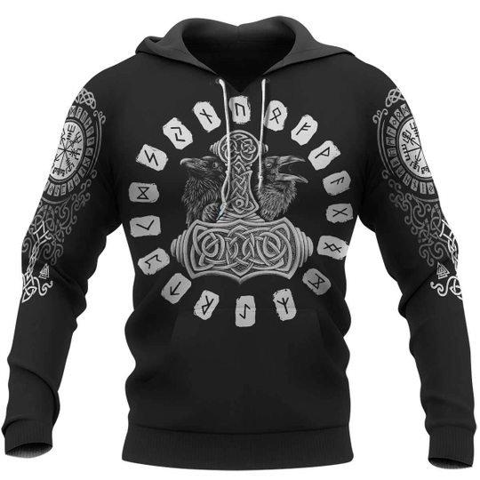 Hammer raven viking 3d hoodie