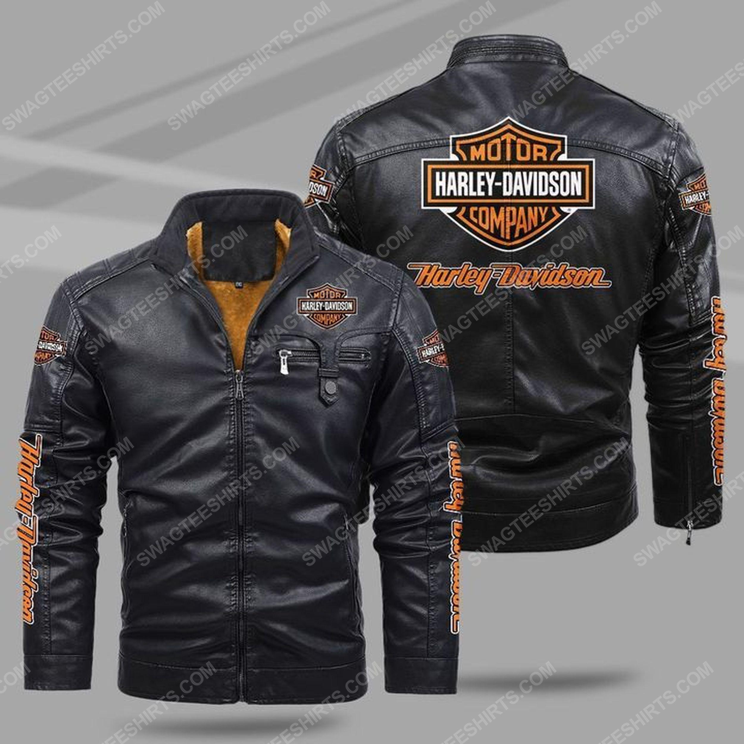 Harley davidson all over print fleece leather jacket