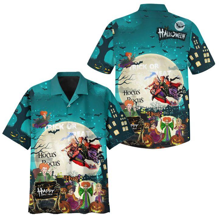 Hocus pocus halloween trick or treat hawaiian shirt