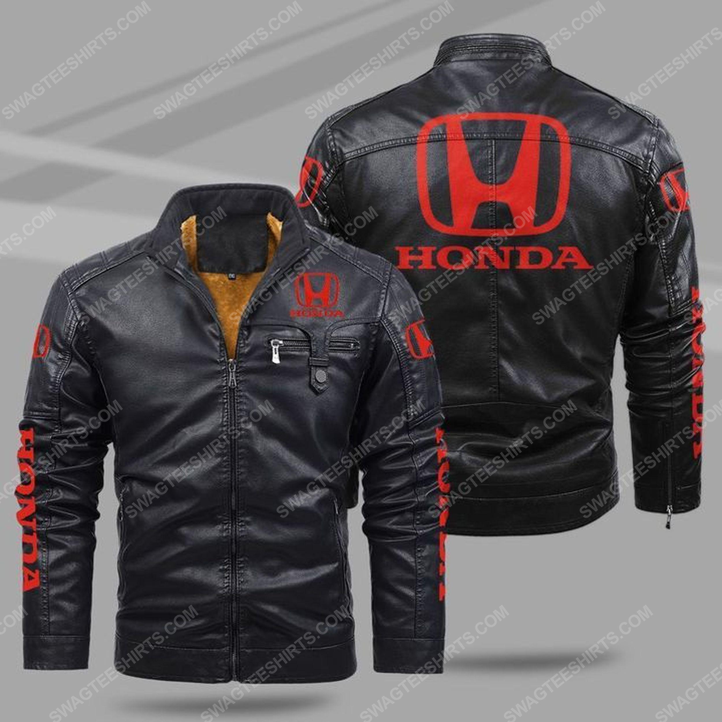 Honda car all over print fleece leather jacket