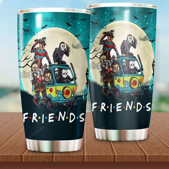 Friends Horror Movie Characters In Car Steel Tumbler