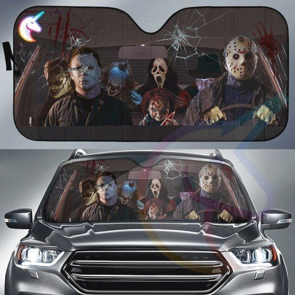 Horror Movies Characters Halloween Car Sun Shade