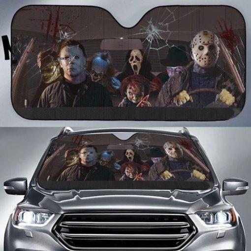 Horror movie killer car sunshade