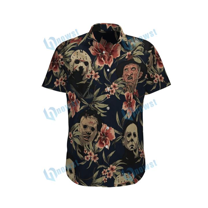 Horror movie tropical flower hawaiian shirt