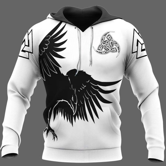 Huginn and muninn raven of odin viking 3d all over print hoodie