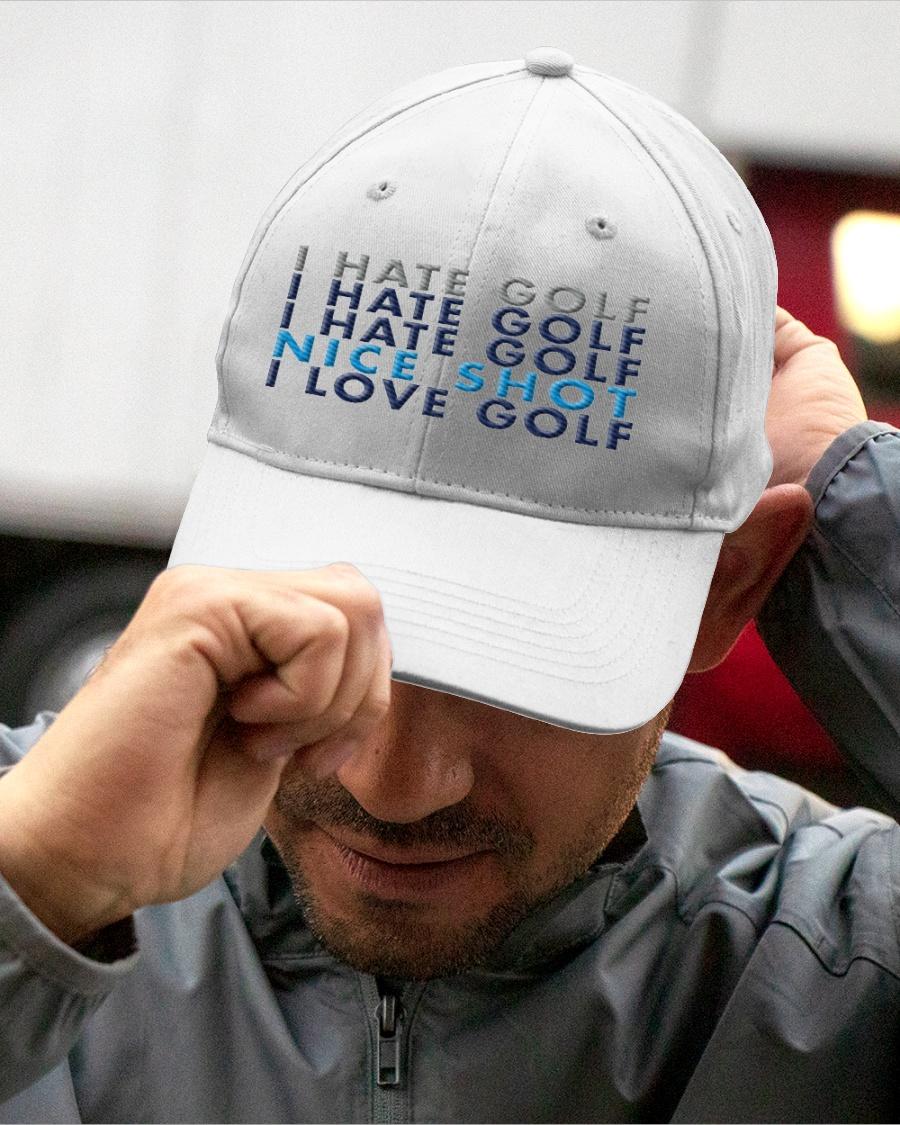 I hate gold nice shot I love golf hat, cap