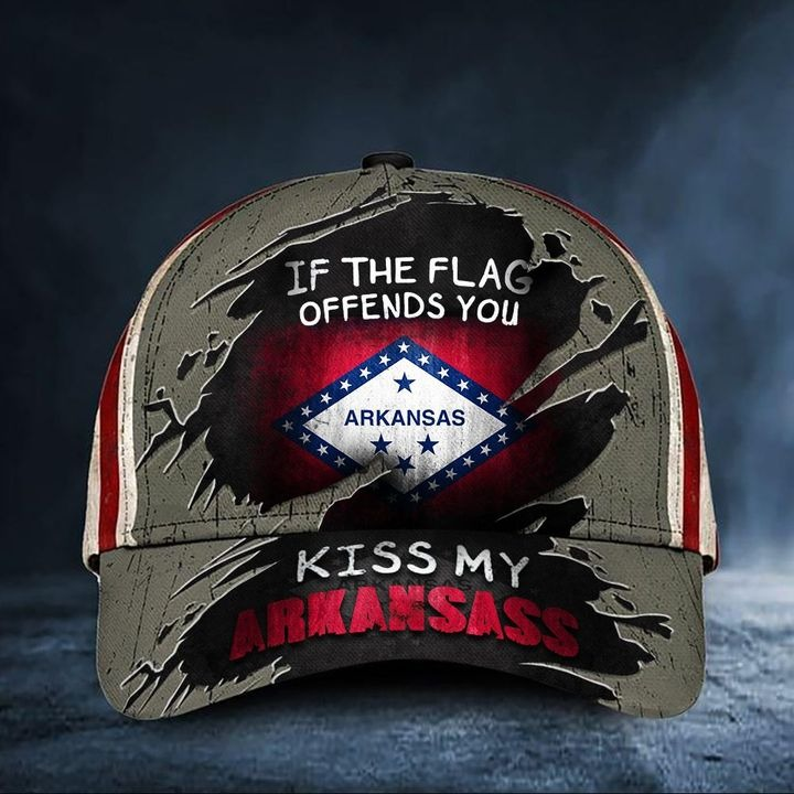 If The Flag Offends You Kiss My Arkansass Cap USA Flag Hat