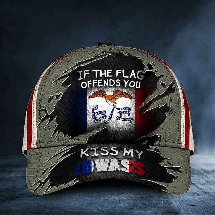 If The Flag Offends You Kiss My Iowass Cap USA Flag Hat