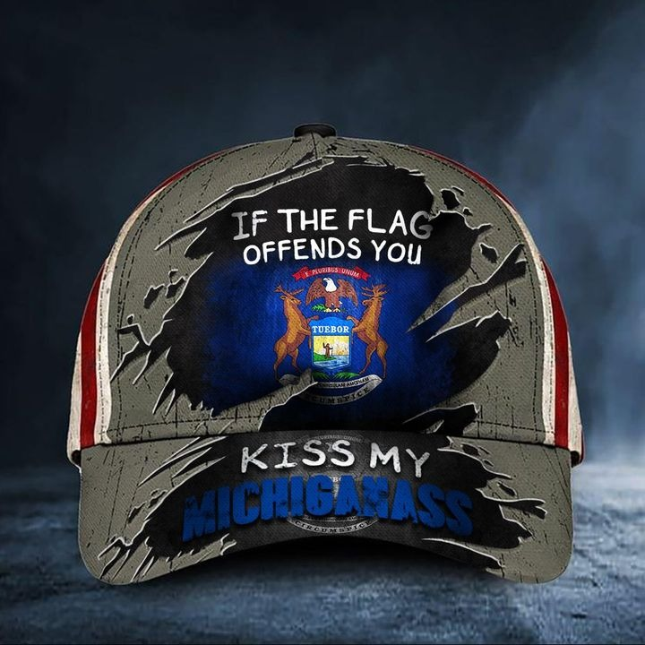 If The Flag Offends You Kiss My Michigass Cap USA Flag Hat