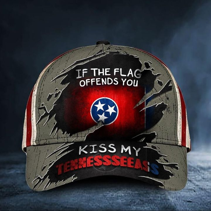 If The Flag Offends You Kiss My Tennesseeass Cap USA Flag Hat
