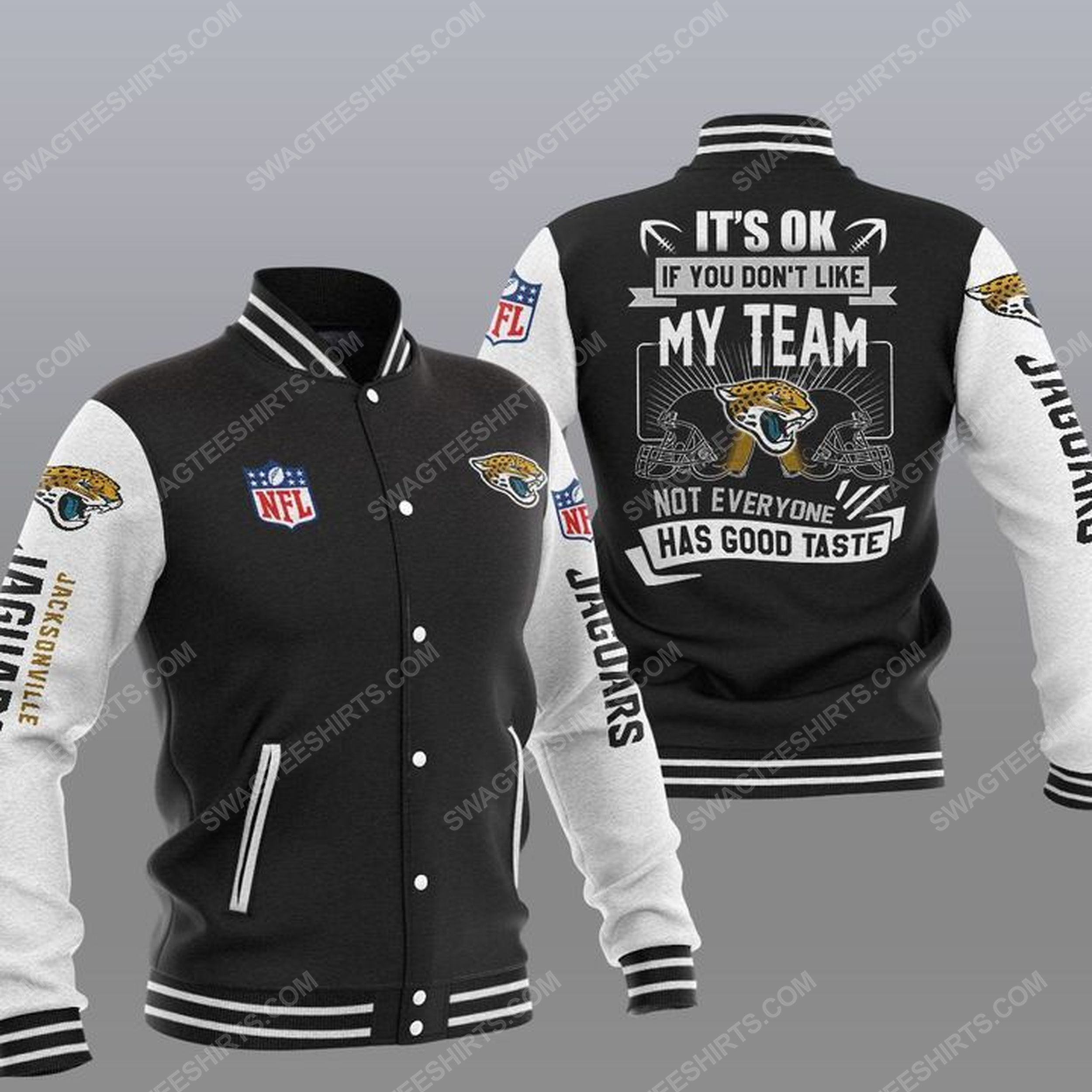 It's ok if you don't like my team jacksonville jaguars all over print baseball jacket - black 1
