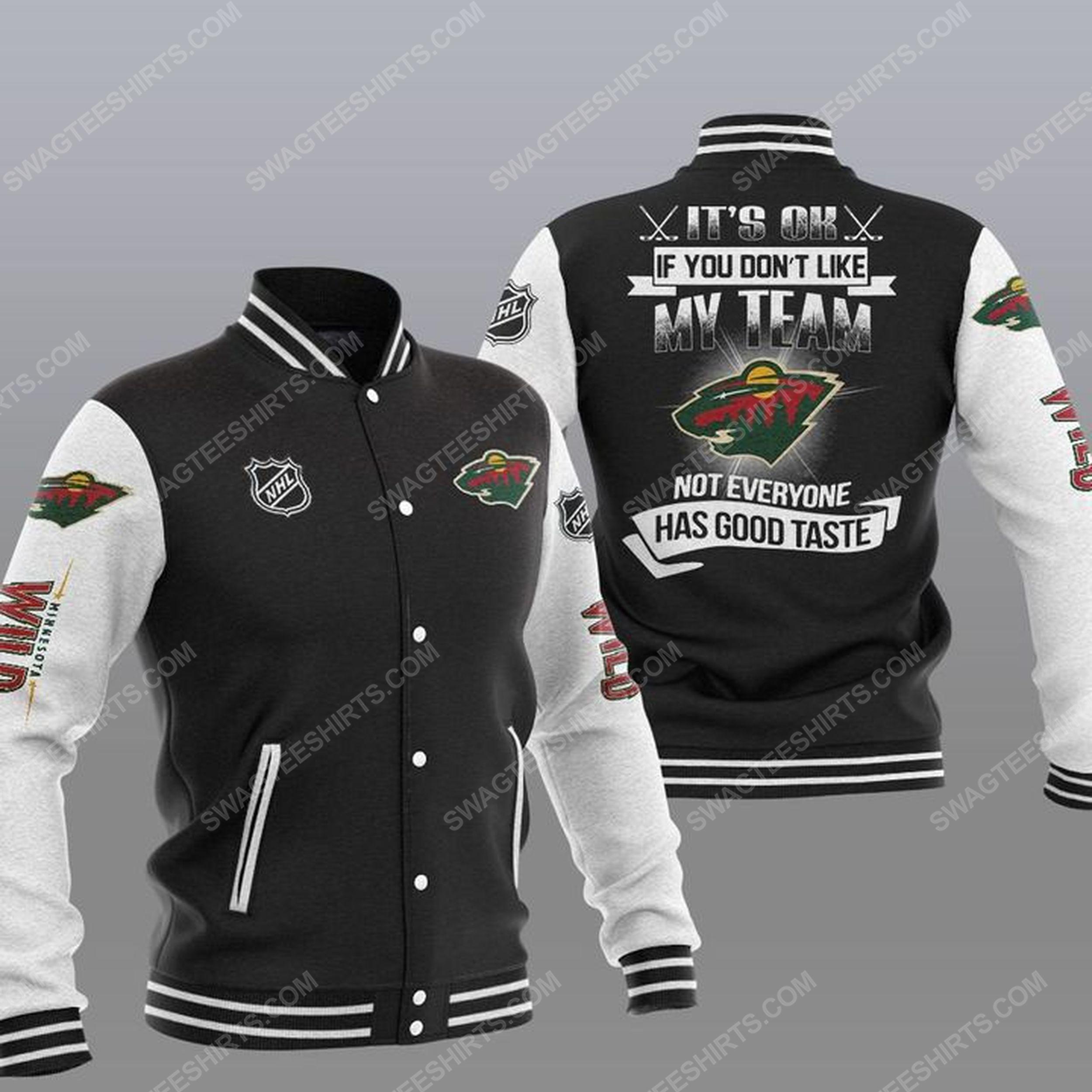 It's ok if you don't like my team minnesota wild all over print baseball jacket - black 1
