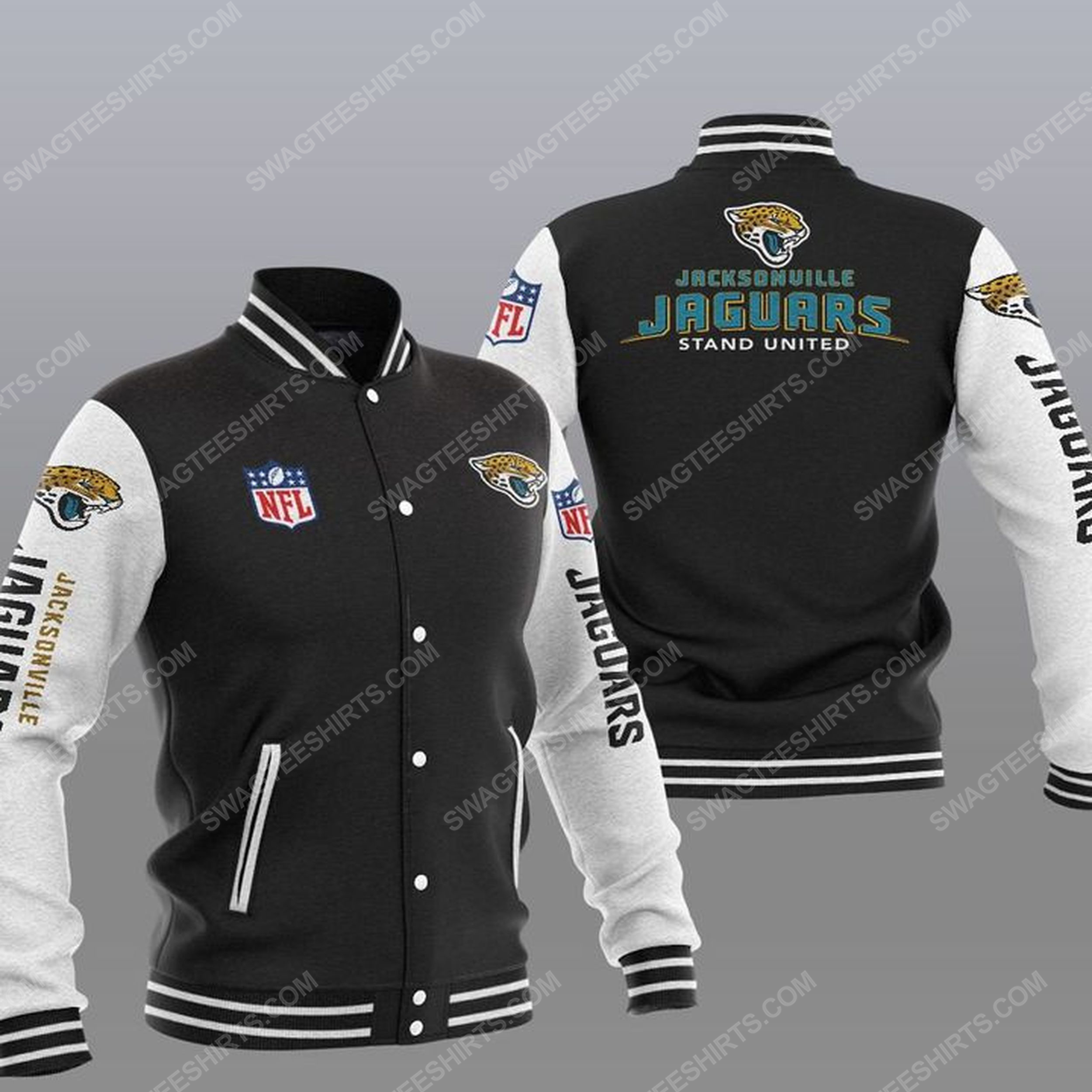 Jacksonville jaguars stand united all over print baseball jacket - black 1