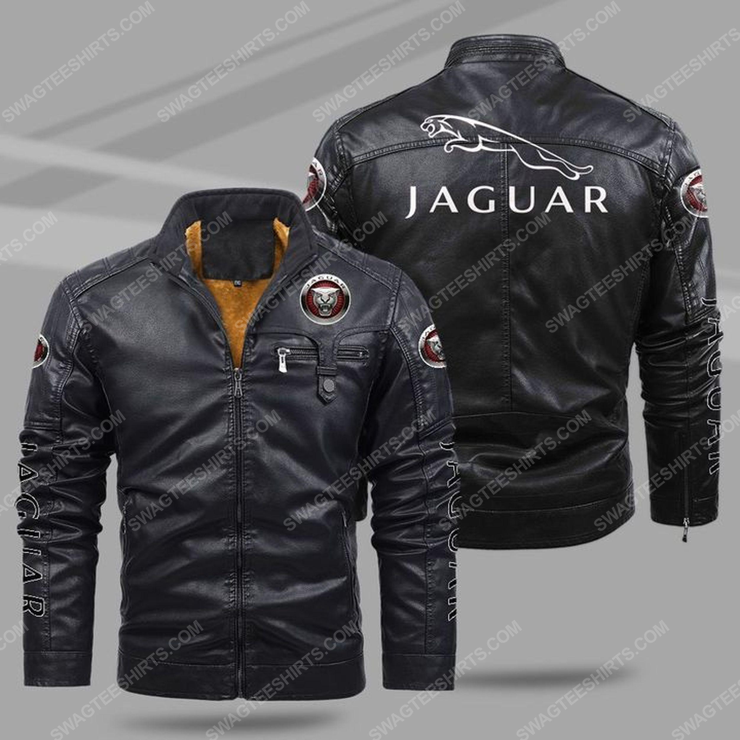 Jaguar car all over print fleece leather jacket