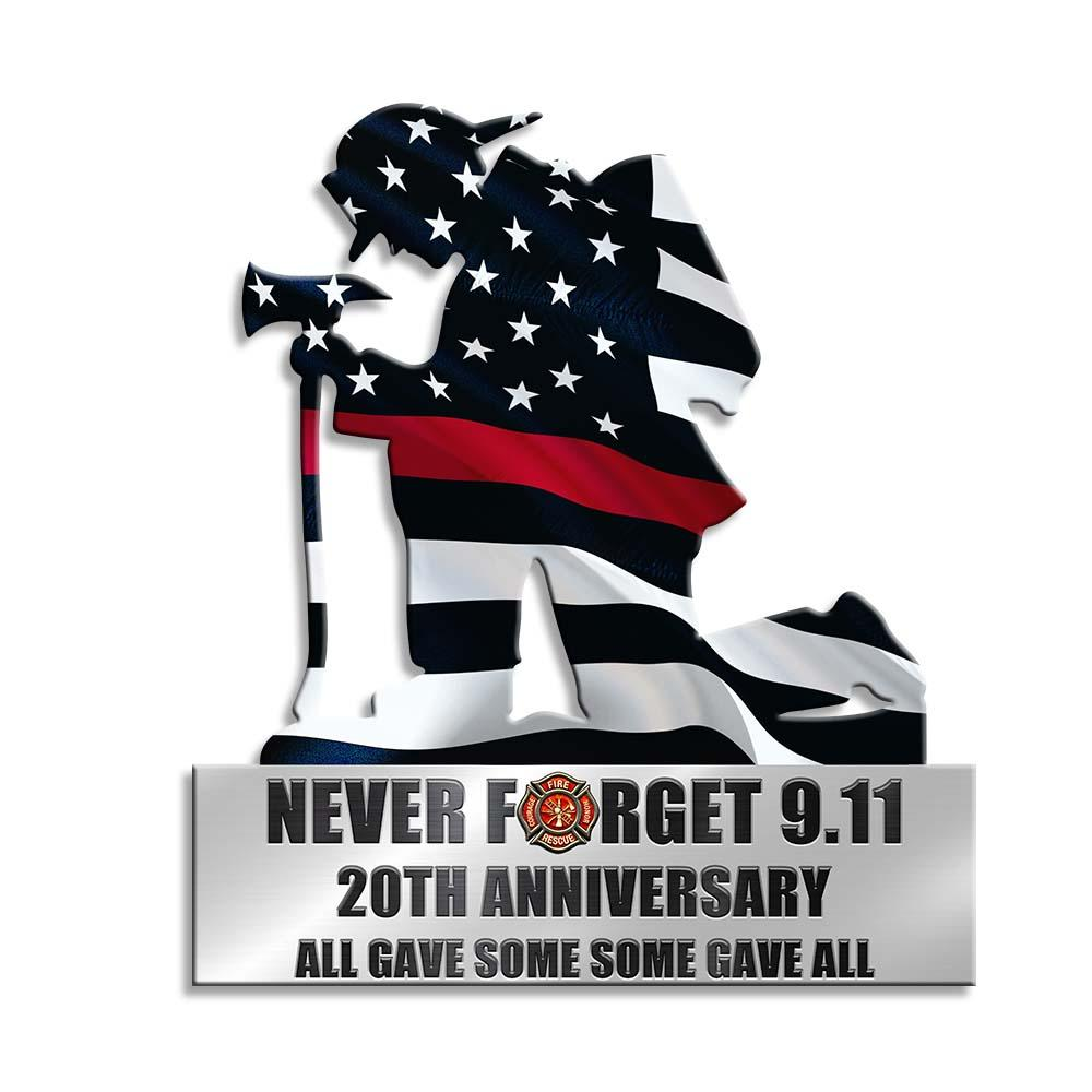 Kneeling Firefighter Never Forget 9-11 20th Anniversary Metal Sign