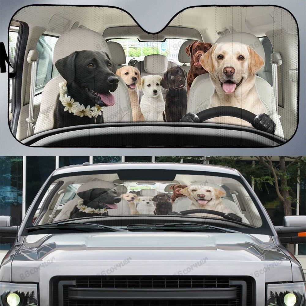 Labrador family car sunshade