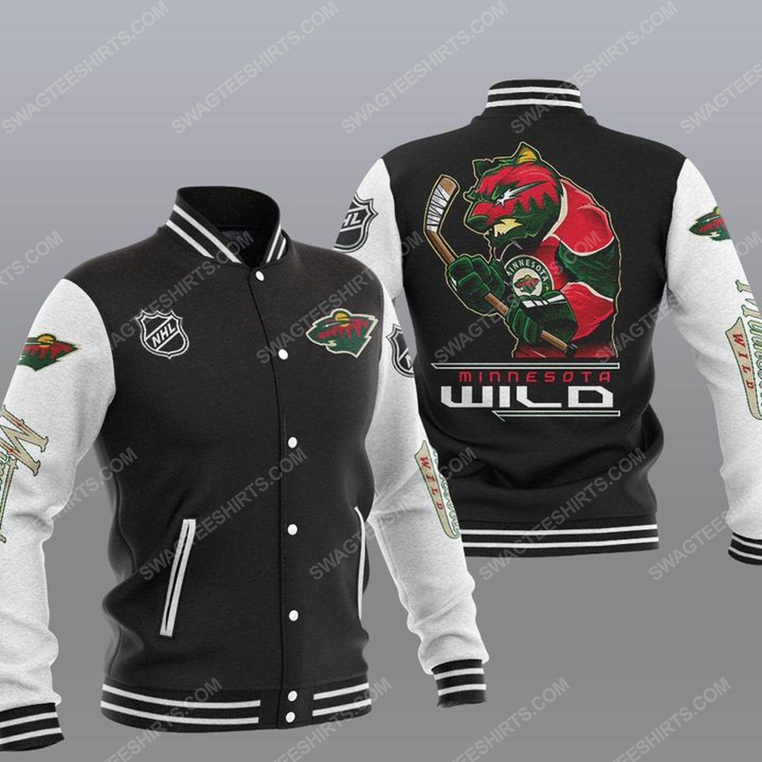 Minnesota wild national hockey league all over print baseball jacket - black 1
