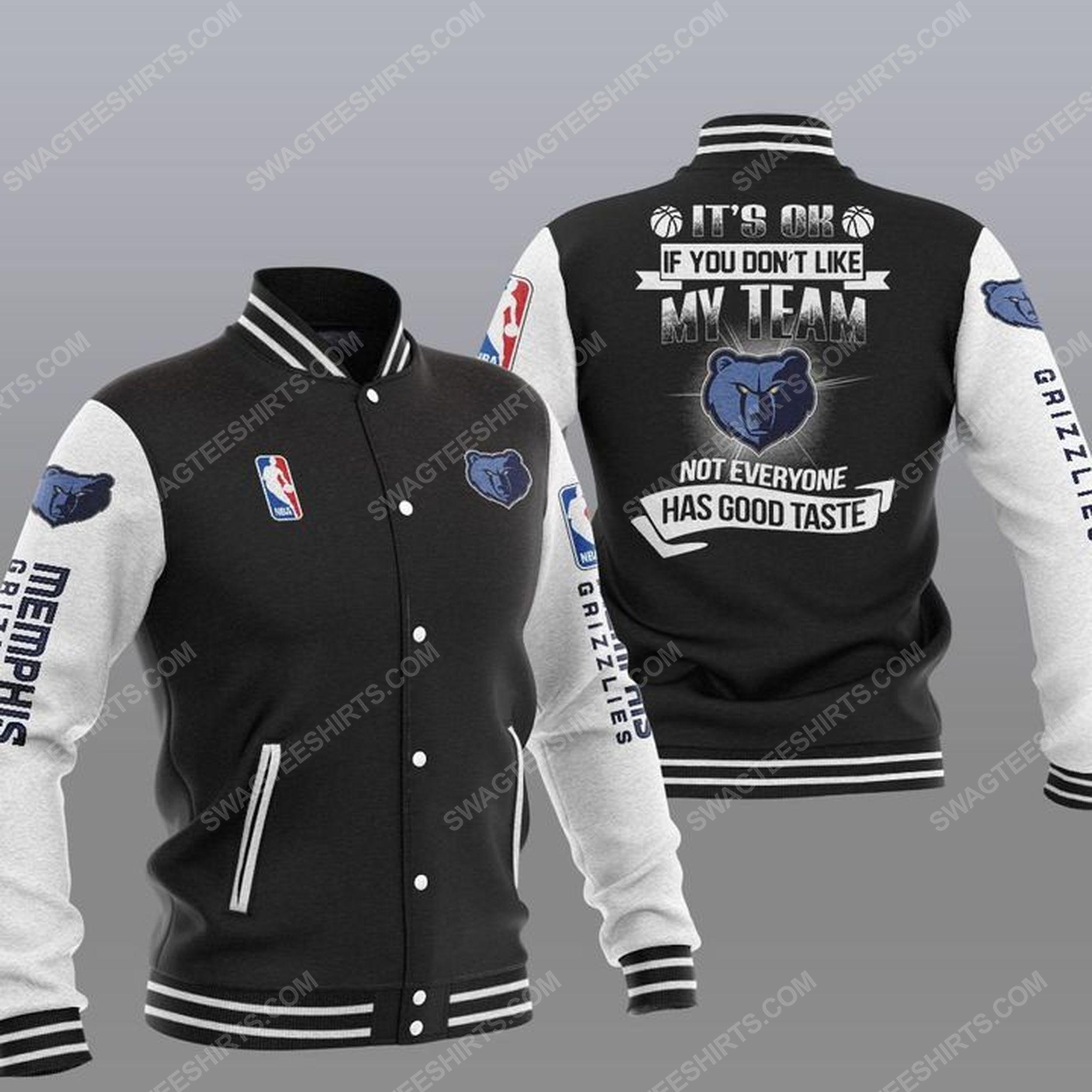 NBA memphis grizzlies all over print baseball jacket - black 1