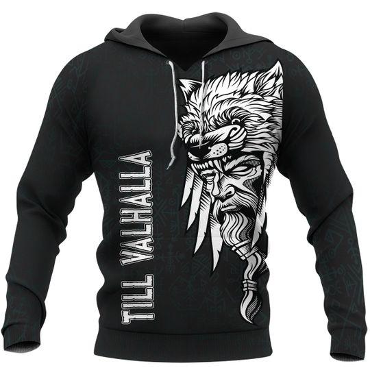 Odin raven -till valhalla viking 3d all over print hoodie