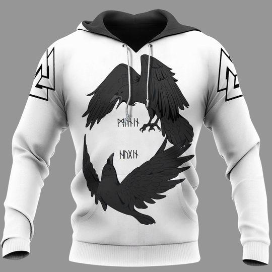 Odin's ravens huginn and muninn viking 3d all over print hoodie