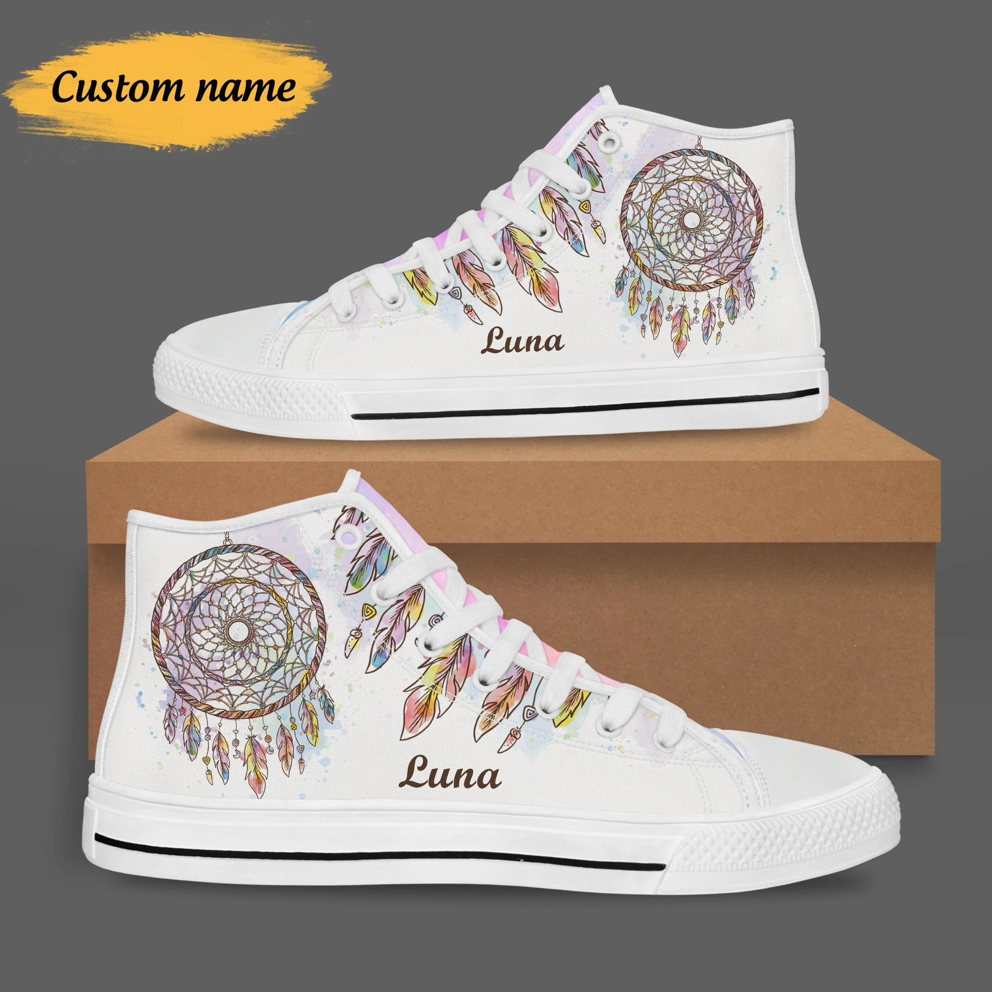 Personalized Rainbow Dream Catcher High Top Shoes