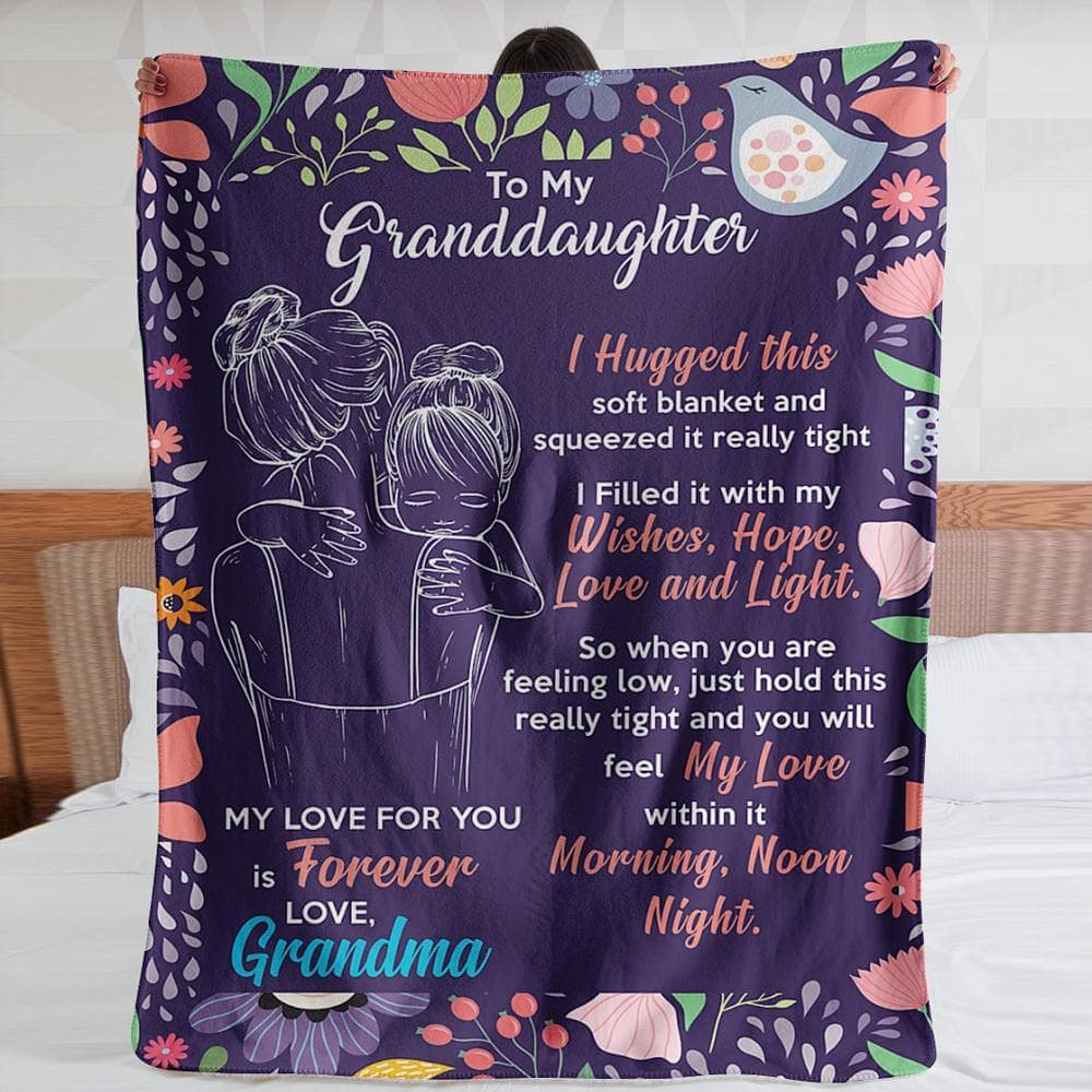 Personalized custom name granddaughter and grandma I hugged this soft blanket 1