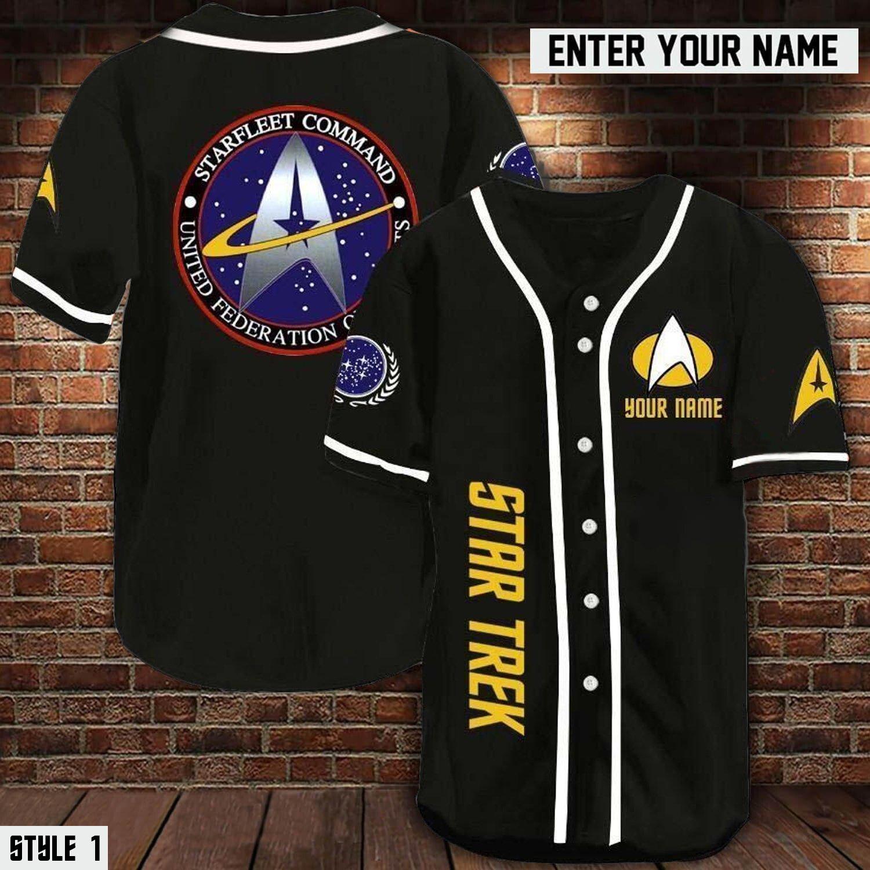 Personalized name Star trek starfleet command baseball jersey