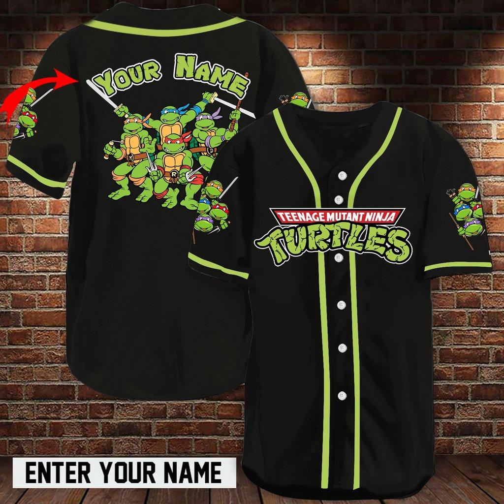 Personalized name TMNT baseball jersey shirt