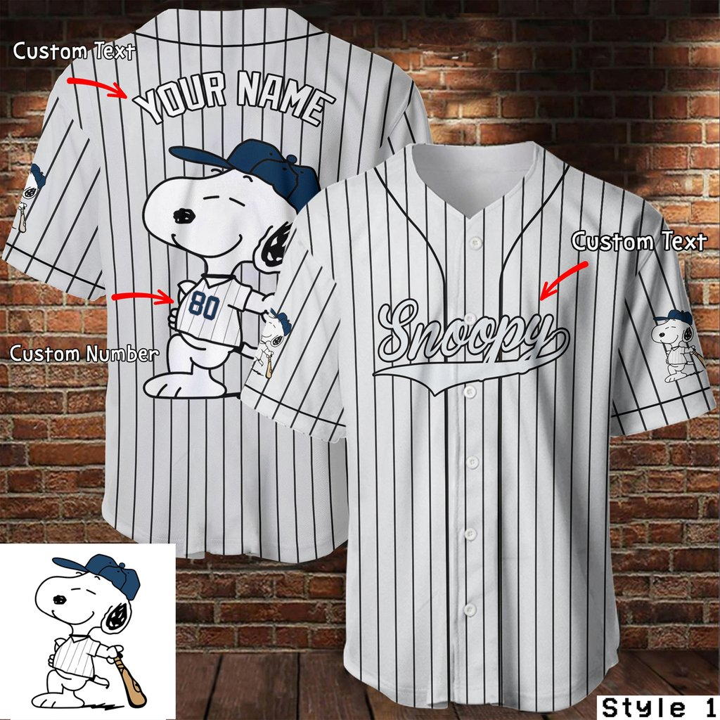 Personalized name and number snoopy stripe baseball jersey