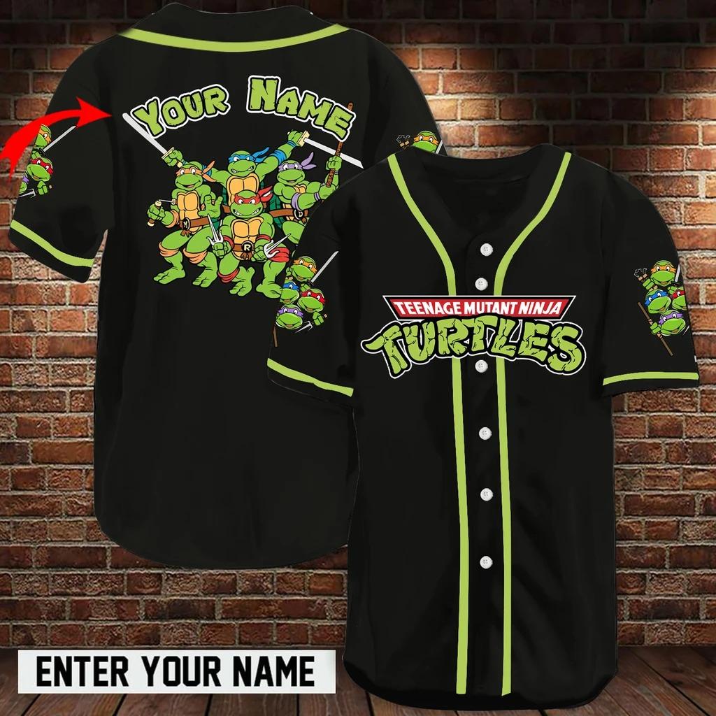Personalized name teenage mutant ninja turtles baseball jersey