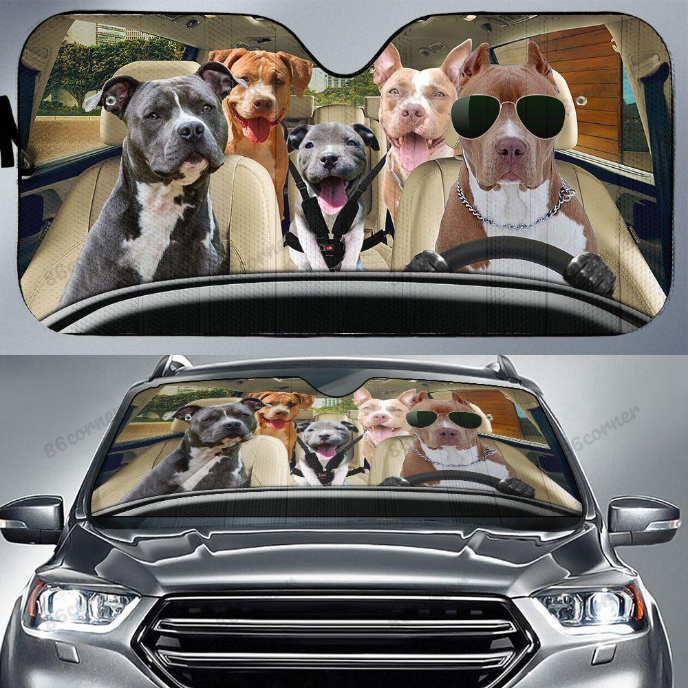 Pitbull dog family car sunshade