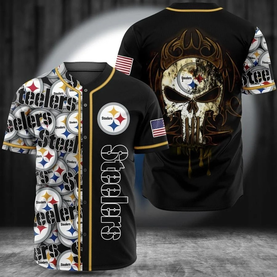 Pittsburgh Steelers skull baseball jersey shirt