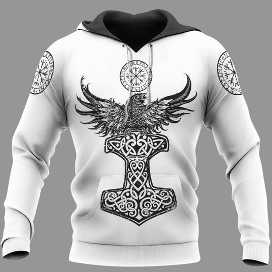Raven hammer vegvisir yggdrasil viking 3d all over print hoodie