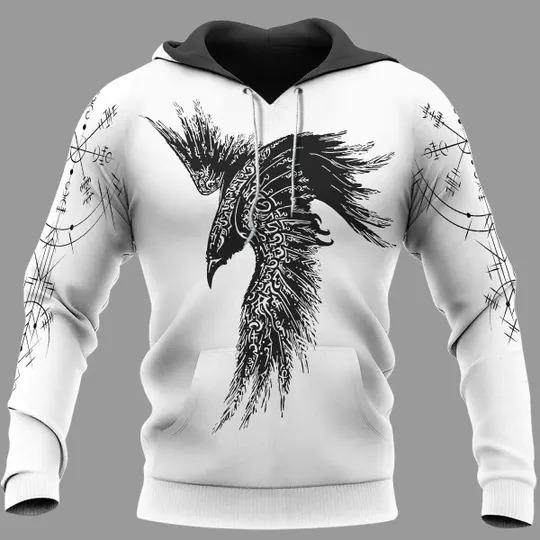 Raven vegvisir viking 3d hoodie2