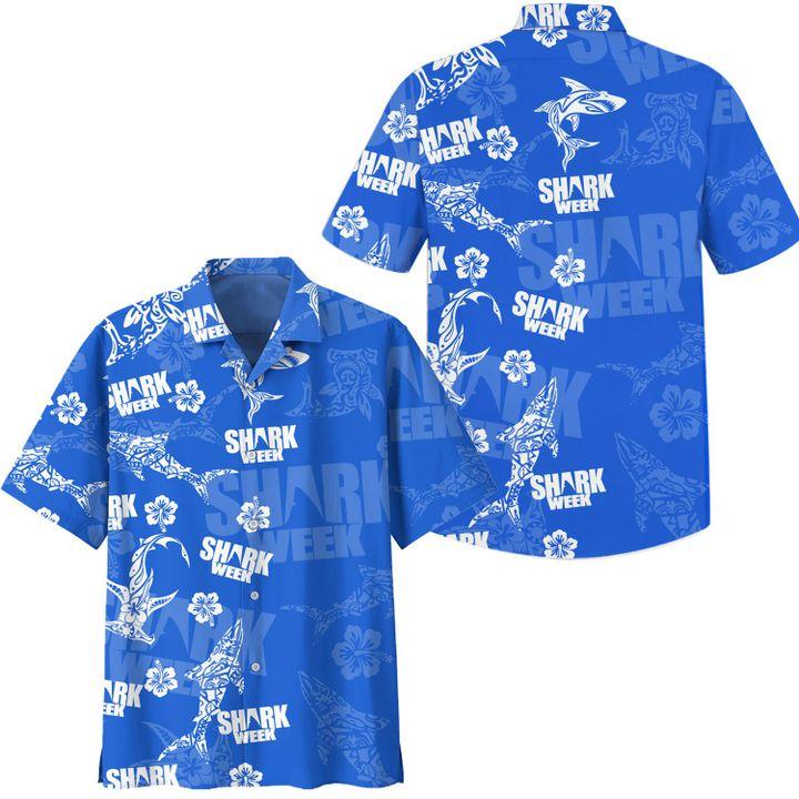 Shark week hawaiian shirt