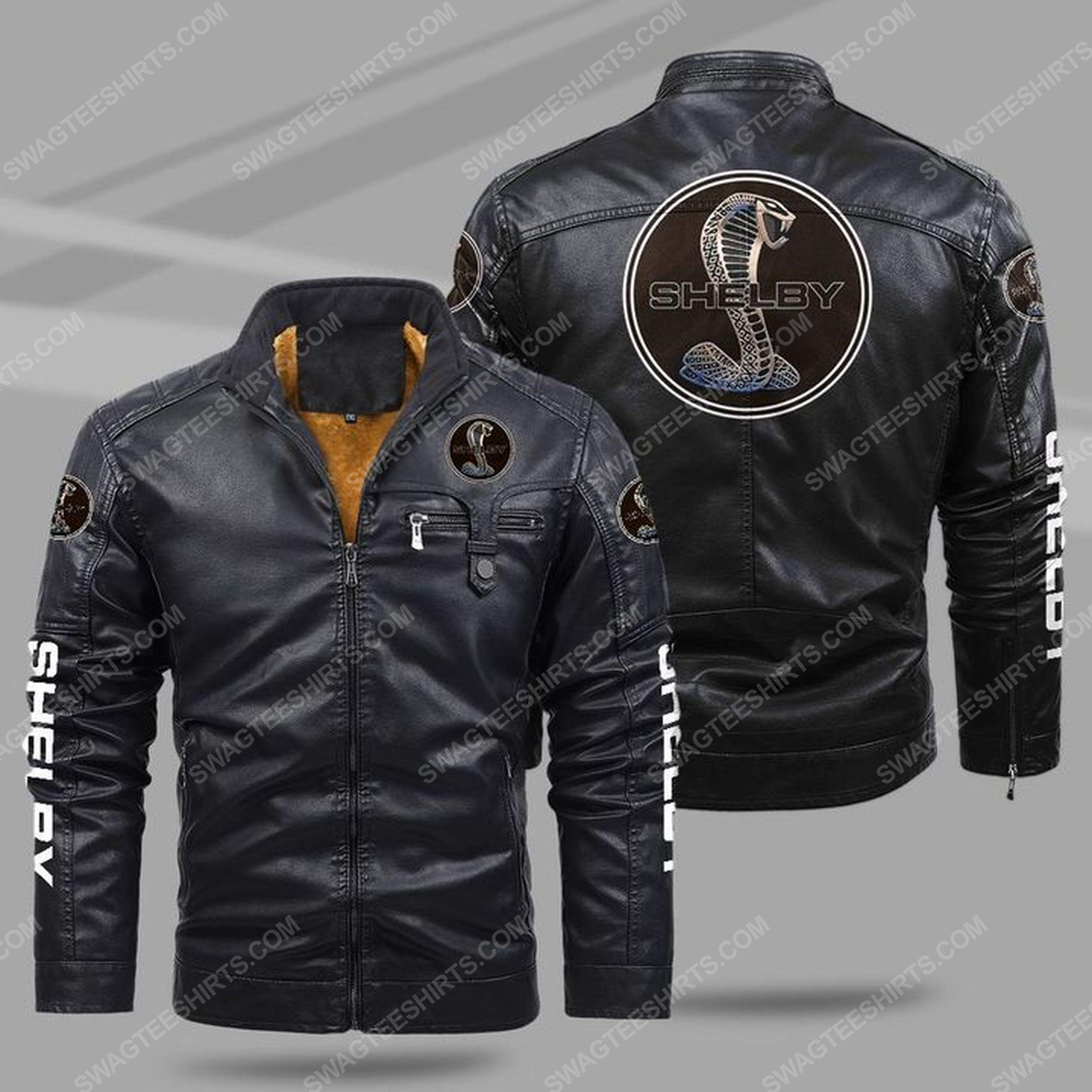 Shelby cobra snake all over print fleece leather jacket