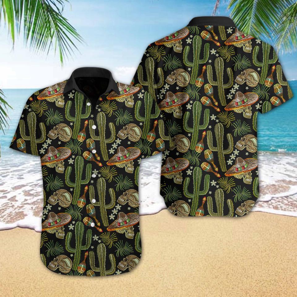 Skull Cactus Embroidery hawaiian shirt