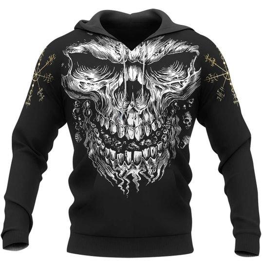 Skull vegvisir viking 3d hoodie