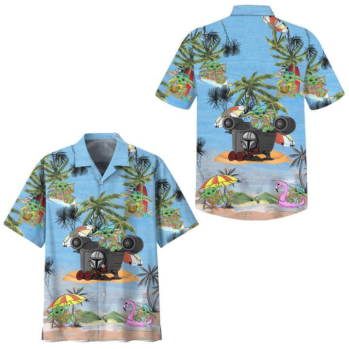 Star wars baby yoda cartoon hawaiian shirt