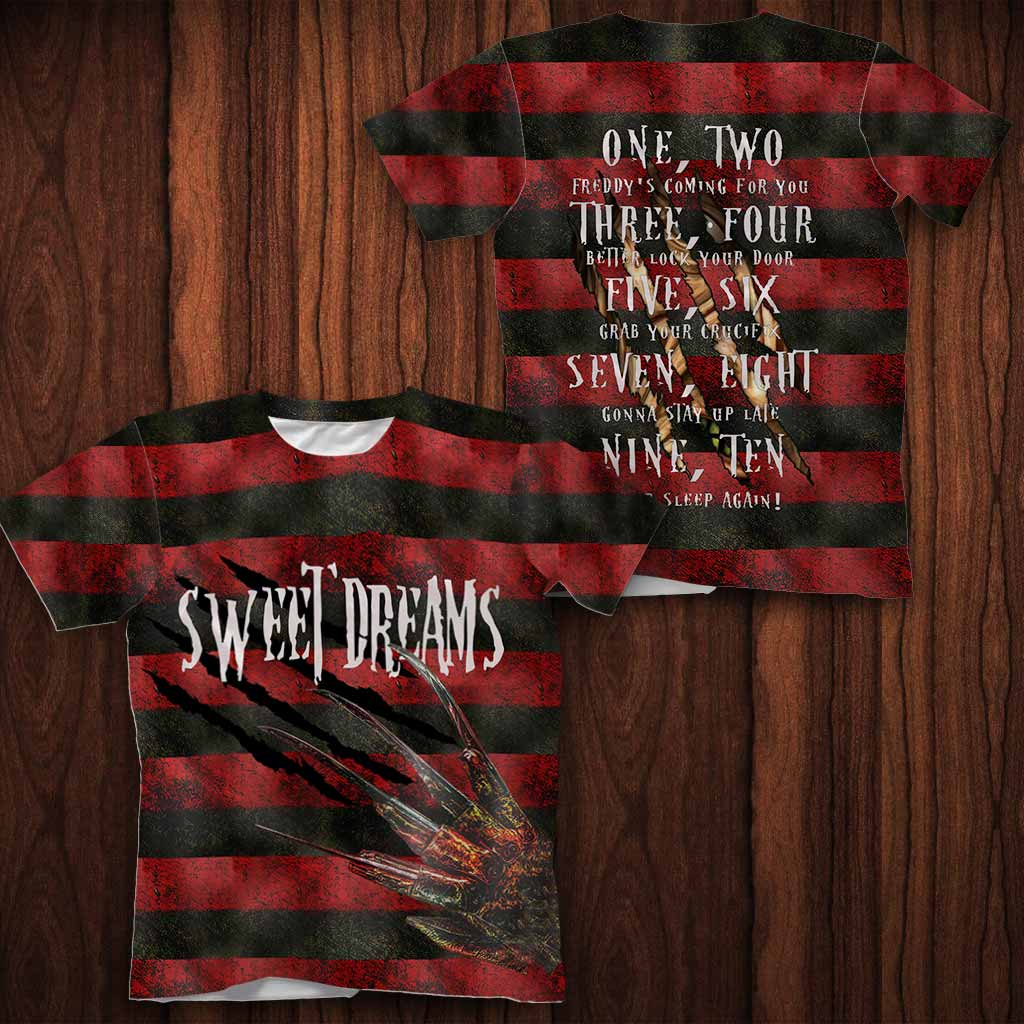 Sweet Dreams One Two Freddy's Coming For You All Over Print T-shirt