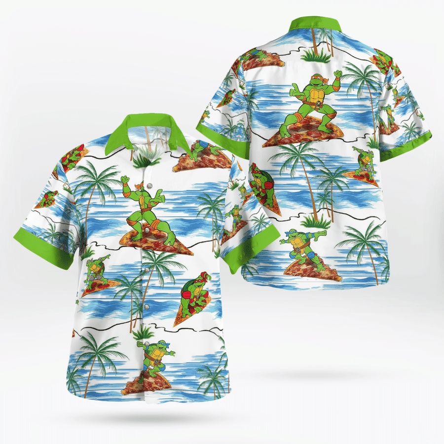 Teenage Mutant Ninja Turtles Pizza Surfing Beach hawaiian shirt