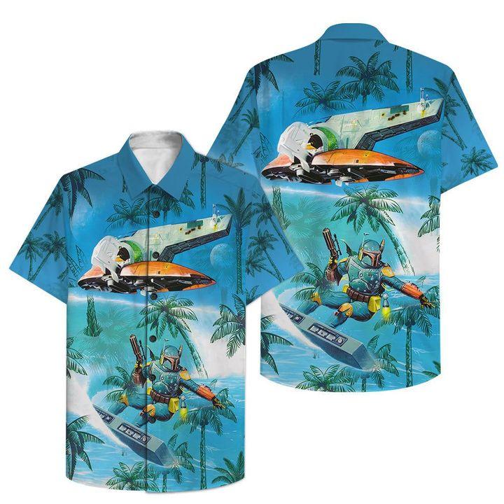 The Mandalorian sufing hawaiian shirt