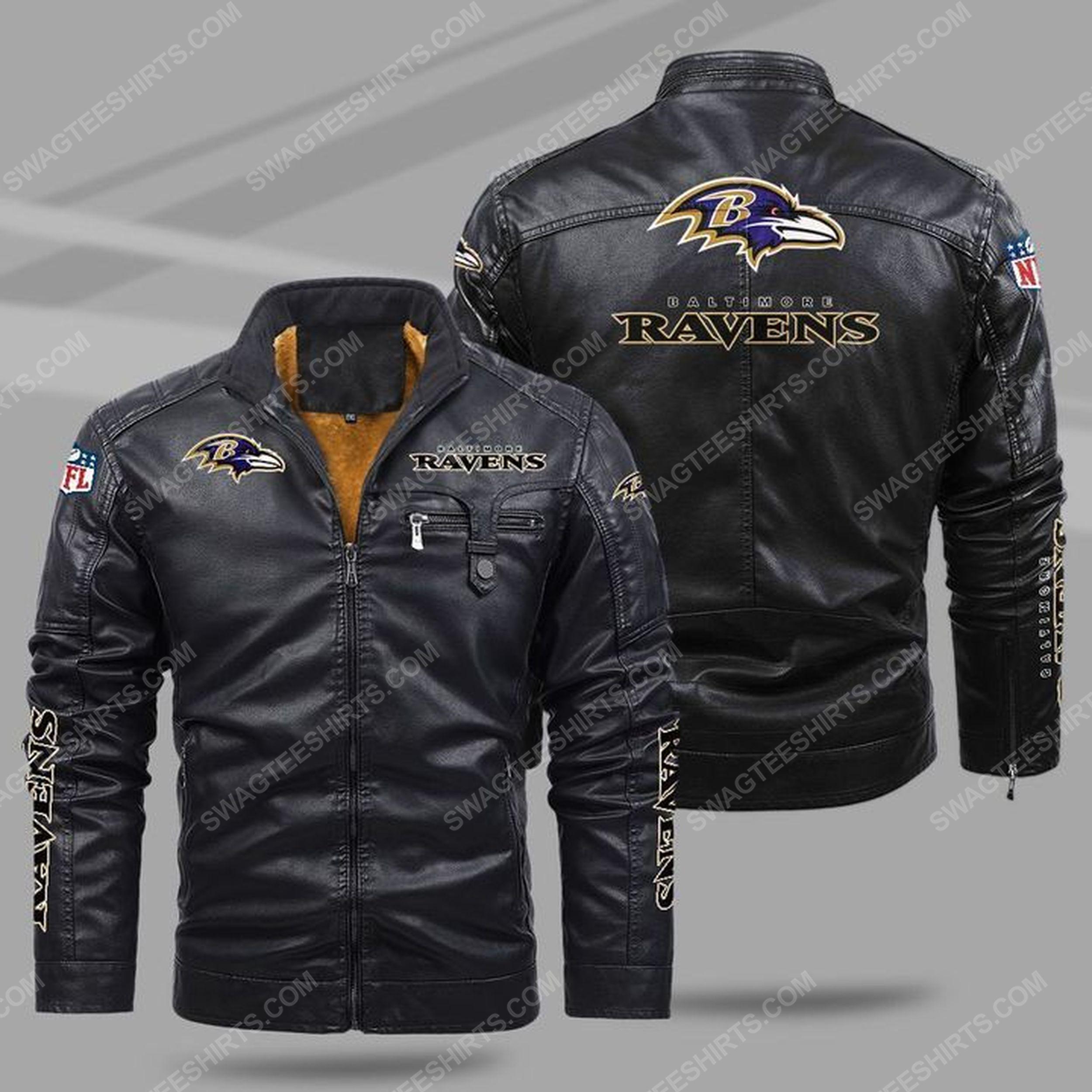 The baltimore ravens nfl all over print fleece leather jacket - black 1