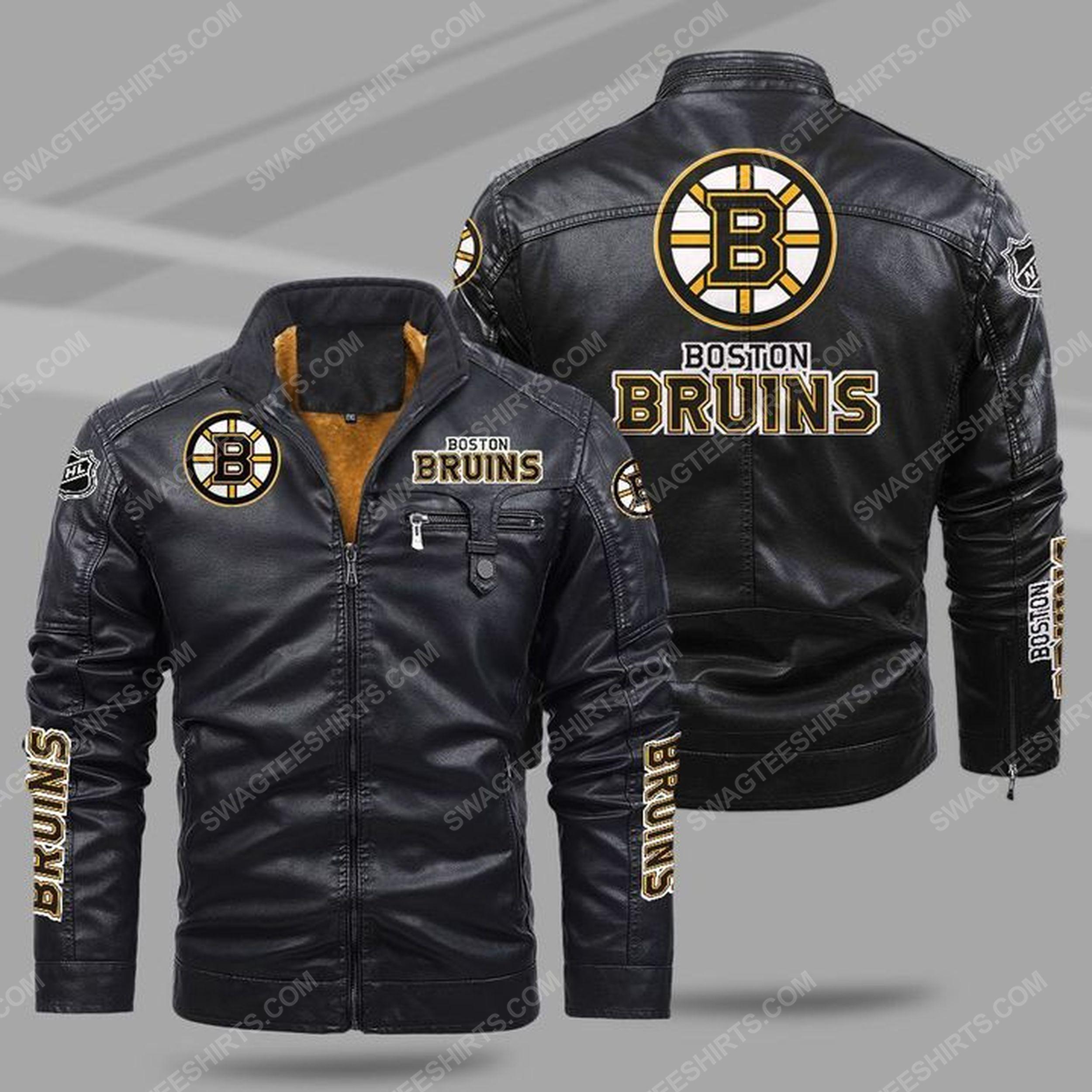 The boston bruins nhl all over print fleece leather jacket - black 1